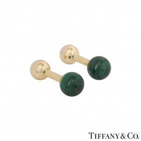 Tiffany & Co. Yellow Gold Malachite Ball Cufflinks